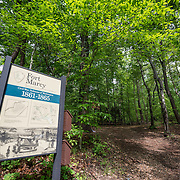 Entrance to the trail at Fort Marcy. On the banks of the Potomac in McLean, Virginia, just west of Washington DC, Fort Marcy is an historic site on the George Washington Parkway managed by the National Park Service. During the Civil War it was one of several forts that surrounded Washington DC to protect the city.