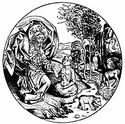 The Sixth Day of Creation: having created cattle and creeping things, God creates Adam. From Hartmann Schedel 'Liber chronicarum mundi', (Nuremberg Chronicle) Nuremberg, 1493. Woodcut.