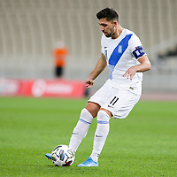 ATHENS, GREECE - OCTOBER 11: Tasos Bakasetasof Greece during the UEFA Nations League group stage match between Greece and Moldova at OACA Spyros Louis on October 11, 2020 in Athens, Greece. (Photo by MB Media)