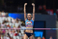 Erika Kinsey of Sweden clears the bar and celebrates during the Women's High Jump at the Muller Anniversary Games at the London Stadium, London, England on 9 July 2017. Photo by Martin Cole.