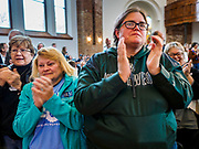 27 APRIL 2019 - STUART, IOWA: People applaud during at the Reaching Rural Voters Forum in Stuart. The forum was an outreach by Democrats in Iowa's 3rd Congressional District to mobilize Democratic voters statewide. Iowa saw one of the largest shifts from Democrats to Republicans in the 2016 Presidential election and Trump won the state by double digits. Republicans control the governor's office and both chambers of the Iowa legislature. Iowa traditionally hosts the the first selection event of the presidential election cycle. The Iowa Caucuses will be on Feb. 3, 2020.    PHOTO BY JACK KURTZ