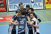 Volleyball: 1. Bundesliga, SVG Lueneburg - VSG Coburg / Grub, Lueneburg, 10.02.2016<br /> Jubel SVG Lüneburg<br /> © Torsten Helmke