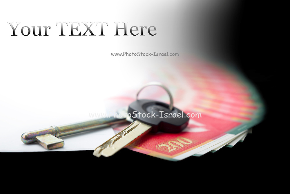 White envelope with bank notes and key, bills of NIS200 on a black background with copy space