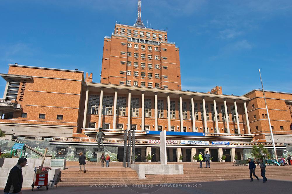 Montevideo City Hall Palacio Municipal imposing red brick building in central city. Montevideo, Uruguay, South America