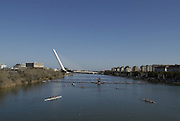 """Seville. SPAIN, 18.02.2007, looking down from the  """"Puente de la Barqueta"""" [bridge] towards  the  pontoon for the 500 metre start at the  FISA Team Cup, held on the River Guadalquiver course. [Photo Peter Spurrier/Intersport Images]    [Mandatory Credit, Peter Spurier/ Intersport Images]. , Rowing Course: Rio Guadalquiver Rowing Course, Seville, SPAIN,"""