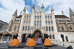 © Licensed to London News Pictures. 31/08/2021. London, UK. Dancers perform a dance titled Black Victorians at Guildhall Yard. The performance is part of the Greenwich + Docklands International Festival and City of London Corporation Outdoor Arts Programme, A Thing of Beauty. Directed by artistic director and choreographer Jeanefer Jean-Charles. Presented in the resonant location of the Guildhall Yard, against the backdrop of London's historic Guildhall, performances of Black Victorians will be accompanied by an outdoor exhibition. Photo credit: Ray Tang/LNP