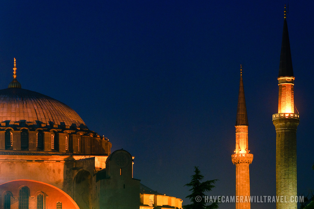 Exterior of Hagia Sophia at night.