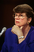 WASHINGTON, DC, USA - 1997/04/30: U.S. Attorney General Janet Reno testifies before the Senate Judiciary Committee on Capitol Hill April 30, 1997 in Washington, DC. Reno refused to appoint an independent counsel to investigate campaign finance abuses demanded by Republicans.   (Photo by Richard Ellis)