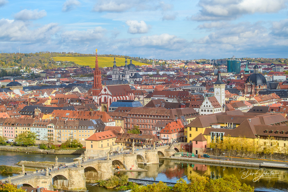Looking down on the city of Wurzburg from the fortress Marienberg, Wurzburg, Bavaria, Germany