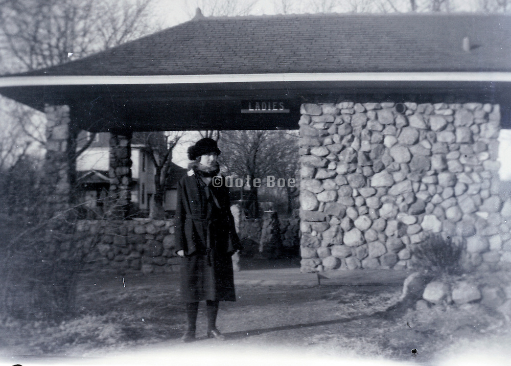 early roadside rest stop and toilet  facility USA Missouri 1920s