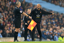 24th October 2017 - Carabao Cup (4th Round) - Manchester City v Wolverhampton Wanderers - Wolves manager Nuno Espirito Santo shouts at the assistant referee (linesman) - Photo: Simon Stacpoole / Offside.