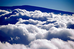 silhouette of Mauna Loa volcanic mountain summit, view from Mauna Kea, Big Island, Hawaii