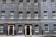 A rare ray of sunshine hits the main front door of number 10 Downing Street, the home of the British Prime Minister on the 25th of May 2021 in Westminster, London. UK.