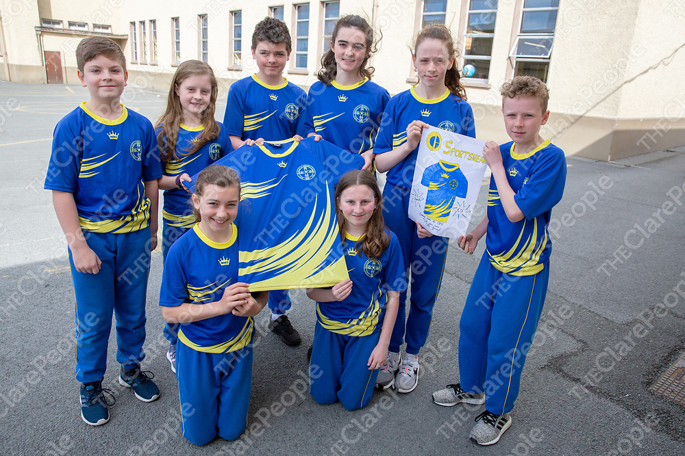 CBS students Cormac Kennedy, Ruth Walsh, Conor Nash, Sophie Torpey, Emily Kelly, Orlaith Coll, Killian Browne and Amiee Ryan with their Jessie's Sportwear tshirt