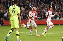 17-09-2015 NED: UEFA Europa League AFC Ajax - Celtic FC, Amsterdam<br /> Ajax heeft in zijn eerste duel in de Europa League thuis moeizaam met 2-2 gelijkgespeeld tegen Celtic / Davy Klaassen #10, Arkadiusz Milik #9