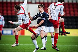 Airdrie United's Sean Lynch, Falkirk's Stewart Murdoch  and Airdrie United's Grant Evans..Airdrie United 0 v 1 Falkirk, 30/3/2013..©Michael Schofield..