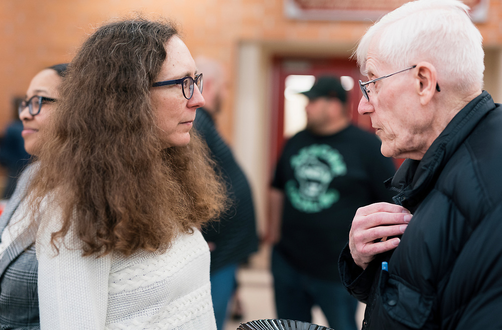 MMSD board member Cristiana Carusi, left, speaks with the public before the Madison Metropolitan School Board swearing-in ceremony at Cesar Chávez Elementary School in Madison, WI on Monday, April 29, 2019.