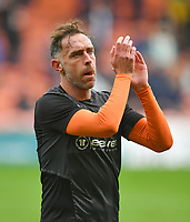 Blackpool's Richard Keogh<br /> <br /> Photographer Dave Howarth/CameraSport<br /> <br /> The EFL Sky Bet Championship - Blackpool v Preston North End - Saturday 23rd October 2021 - Bloomfield Road - Blackpool<br /> <br /> World Copyright © 2020 CameraSport. All rights reserved. 43 Linden Ave. Countesthorpe. Leicester. England. LE8 5PG - Tel: +44 (0) 116 277 4147 - admin@camerasport.com - www.camerasport.com