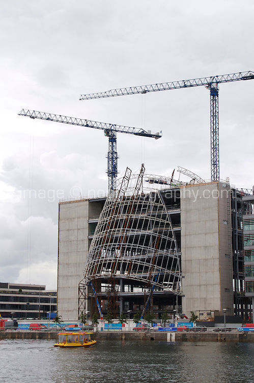 Dublin's new convention centre under construction at Spencer Dock overlooking the River Liffey, Ireland