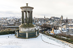 Snow falling Calton Hill | Edinburgh |16 January 2018
