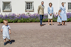 Queen Silvia of Sweden, Crown Princess Victoria and husband Prince Daniel with their children Princess Estelle, Prince Oscar during the traditionally celebration of Crown Princess Victoria's birthday at the royal family's summer residence, Solliden Palace in Borgholm, Öland, Sweden, on July 15, 2017, a day later Stockholm celebration. Photo by Robin Utrecht/ABACAPRESS.COM