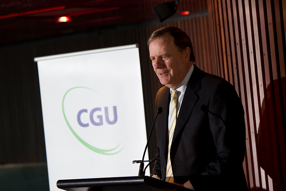 Eureka Tower, Melbourne, 27th September 2010: Peter Costello speaks at a CGU Insurance corporate lunch hosted by Peter Costello at Eureka Tower in Melbourne..Photo: Joseph Feil