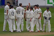 Rikki Clarke (Warwickshire County Cricket Club)  celebrates  with his team mates after taking the wicket of Keaton Jennings (Durham County Cricket Club) during the LV County Championship Div 1 match between Durham County Cricket Club and Warwickshire County Cricket Club at the Emirates Durham ICG Ground, Chester-le-Street, United Kingdom on 14 July 2015. Photo by George Ledger.