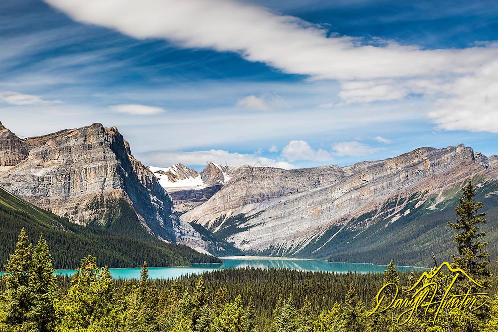 Beautiful Hector Lake high in the Canadian Rockies of Banff National Park Alberta, Canada.