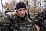 """Moscow Region, Russia, 26/10/2007..Activists of the pro-Kremlin youth group Nashi [Ours] undergo military training at a Russian Army Paratroop Regiment camp as part of the group's project """"Our Army"""".."""