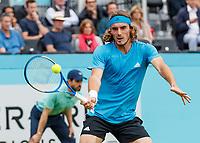 Tennis - 2019 Queen's Club Fever-Tree Championships - Day Three, Wednesday<br /> <br /> Men's Singles, First Round: Stefanos Tsitsipas (GRC) Vs. Kyle Edmund (GBR)<br /> <br /> Stefanos Tsitsipas (GRC) in action on Centre Court.<br />  <br /> COLORSPORT/DANIEL BEARHAM