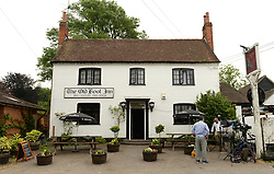 NBC prepare to do a live broadcast from outside of The Old Boot Inn in Stanford Dingley, one of the Middleton's local pubs.