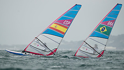 31.07.2012, Bucht von Weymouth, GBR, Olympia 2012, Windsurfen, im Bild RS:X Men, Pastor Lafuente Ivan (ESP), Santos Ricardo (BRA) . EXPA Pictures © 2012, PhotoCredit: EXPA/ Juerg Kaufmann ***** ATTENTION for AUT, CRO, GER, FIN, NOR, NED, POL, SLO and SWE ONLY!