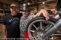 Bill Dodge and Krazy J Kieffer at Bill's Blings Cycle shop during Biketoberfest. Daytona Beach, FL, USA. Friday October 20, 2017. Photography ©2017 Michael Lichter.