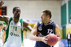 Christopher Booker of Krka vs Goran Jagodnik of Hopsi during basketball match between KK Krka and KK Hopsi Polzela in 3rd Semifinal match of Telemach League 2013/14, on May 17, 2014 in Sportna dvorana Leona Stuklja, Novo mesto, Slovenia. Photo by Vid Ponikvar / Sportida