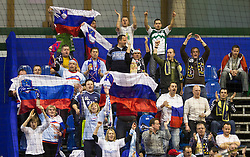 Fans of Slovenia during handball match between Spain and Slovenia in  Main Round of 10th EHF European Handball Championship Serbia 2012, on January 25, 2012 in Spens Hall, Novi Sad, Serbia. Spain defeated Slovenia 35-32. (Photo By Vid Ponikvar / Sportida.com)