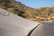 A giant sand dune pushes inland at Wharariki Beach, driven by the strong westerlies that constantly blow here.
