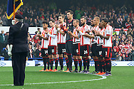 Sunderland players take part in a minute's applause for Remembrance Sunday. Barclays Premier League match, Everton v Sunderland at Goodison Park in Liverpool on Sunday 1st November 2015.<br /> pic by Chris Stading, Andrew Orchard sports photography.