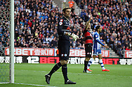 Queens Park Rangers goalkeeper Rob Green in action. Skybet football league championship play off semi final, 1st leg match, Wigan Athletic v QPR at the DW Stadium in Wigan, England on Friday 9th May 2014.pic by Chris Stading, Andrew Orchard sports photography.