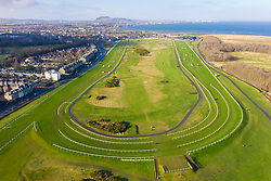 Aerial view of Musselburgh Old Golf Course and Musselburgh Racecourse, East Lothian, Scotland UK
