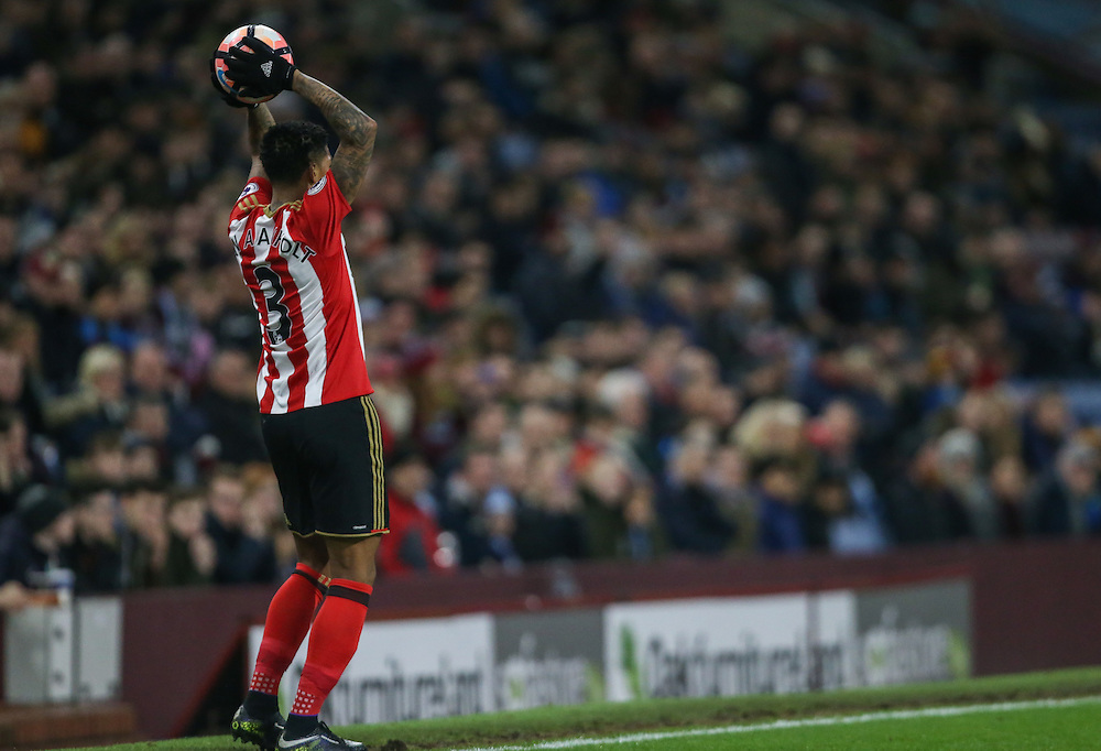 Sunderland's Patrick van Aanholt in action<br /> <br /> Photographer Alex Dodd/CameraSport<br /> <br /> Emirates FA Cup Third Round Replay - Burnley v Sunderland - Tuesday 17th January 2017 - Turf Moor - Burnley<br />  <br /> World Copyright © 2017 CameraSport. All rights reserved. 43 Linden Ave. Countesthorpe. Leicester. England. LE8 5PG - Tel: +44 (0) 116 277 4147 - admin@camerasport.com - www.camerasport.com