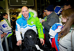 Andrej Tavzelj, ice hockey player at reception of Slovenia team arrived from Winter Olympic Games Sochi 2014 on February 19, 2014 at Airport Joze Pucnik, Brnik, Slovenia. Photo by Vid Ponikvar / Sportida