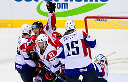 Roland Kaspitz of Austria celebrates during ice-hockey match between Austria and Slovenia of Group G in Relegation Round of IIHF 2011 World Championship Slovakia, on May 7, 2011 in Orange Arena, Bratislava, Slovakia. (Photo By Vid Ponikvar / Sportida.com)