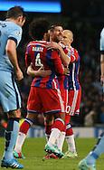 Xabi Alonso of Bayern Munich (c) celebrates his goal  - UEFA Champions League group E - Manchester City vs Bayern Munich - Etihad Stadium - Manchester - England - 25rd November 2014  - Picture Simon Bellis/Sportimage