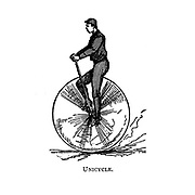 Unicycle From Wheels and Wheeling; An indispensable handbook for cyclists, with over two hundred illustrations by Porter, Luther Henry. Published in Boston in 1892