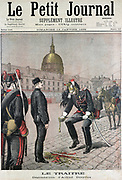 Alfred Dreyfus (c1859-1935) French army officer of Jewish extraction, wrongly accused of passing secret documents to the Germans, being disgraced as a traitor and degraded by having his sword broken and all signs of rank removed from his uniform. From 'Le Petit Journal' Paris,  18 January 1895.