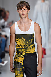 Model Luc Defont-Saviard walks on the runway during the Calvin Klein Fashion show at New York Fashion Week Spring Summer 2018 held in New York, NY on September 7, 2017. (Photo by Jonas Gustavsson/Sipa USA)