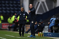Preston North End manager Simon Grayson and Brighton & Hove Albion manager Chris Hughton during the EFL Sky Bet Championship match between Preston North End and Brighton and Hove Albion at Deepdale, Preston, England on 14 January 2017.