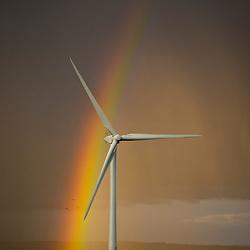 Wind turbine with rainbow