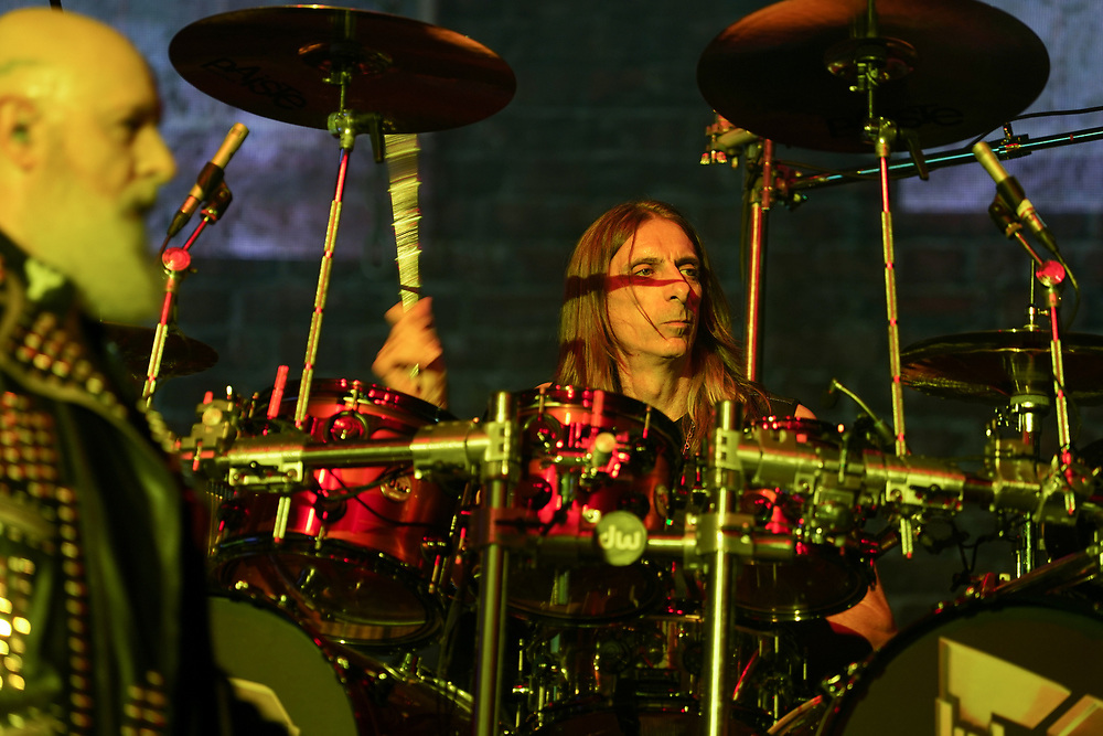 Judas Priest drummer Scott Travis performs as the band kicked off their 50th anniversary tour Sept. 8, 2021, at Santander Arena in Reading, Pennsylvania.
