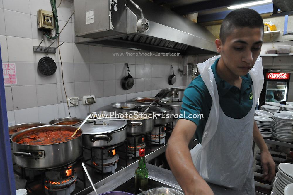 Israel, West Jerusalem, Rachmo Restaurant, traditional restaurant still using kerosene burners for cooking Ha Eshkol Street Machane Yehuda neighbourhood